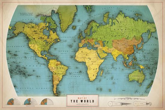 Retro World Map Print On Canvas By The Vintage Collection At