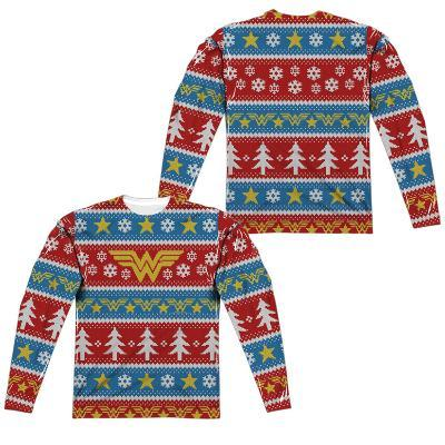 Long Sleeve: Wonder Woman- Winter Holiday Sweater (Front/Back)