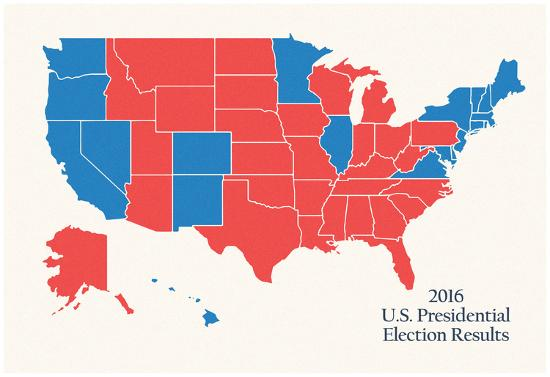 Map Of Us Electoral College.2016 Us Presidential Electoral College Map Posters At Allposters Com