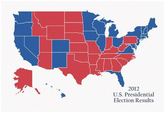 2012 Us Presidential Electoral College Map Posters At Allposterscom - 2012-us-presidential-election-map