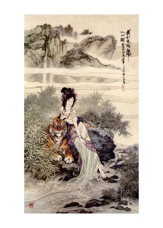 Chinese Art- Lady With Tiger