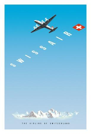 Swiss Alps - Swissair DC-4 - The Airline of Switzerland