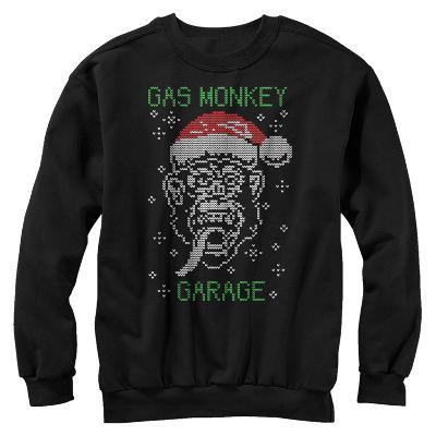 Crewneck Sweatshirt: Gas Monkey- Knit Santa Monkey