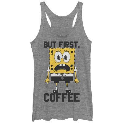 Juniors Tank Top: Sponge Bob- But First Coffee Scoop Neck