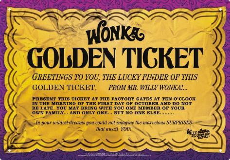 graphic regarding Printable Golden Ticket named Willy Wonka - Golden Ticket