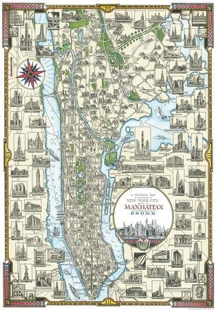Pictorial Map Of Manhattan, New York
