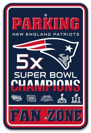 NFL New England Patriots 5x Super Bowl Champions Plastic Parking Sign