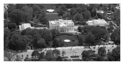 Aerial view of the White House, Washington, D.C. - Black and White Variant
