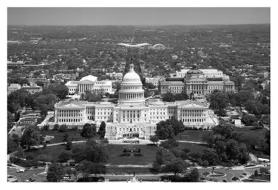 Aerial view, United States Capitol building, Washington, D.C. - Black and White Variant