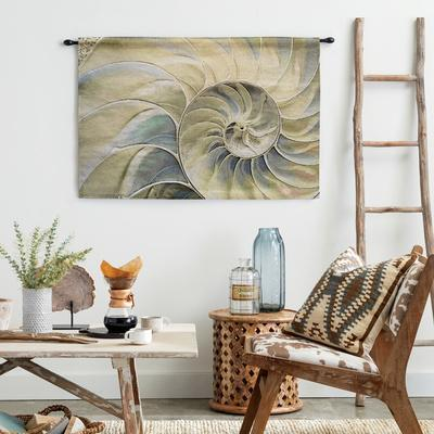 Nautilus Ocean Blue Wall Tapestry - Large