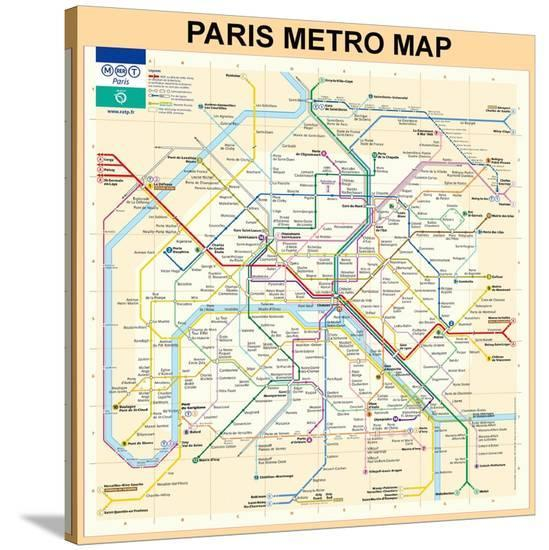 Paris Metro Map Printable.Paris Metro Map Peach Stretched Canvas Print By Bill Cannon At