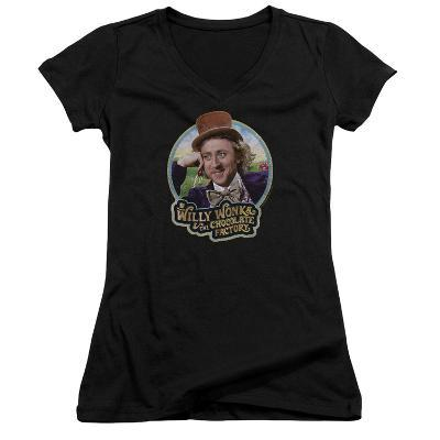 Juniors: Willy Wonka And The Chocolate Factory/Smiling Willy Badge V-Neck