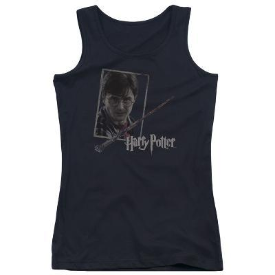 Juniors Tank Top: Harry Potter- Wand And Portrait