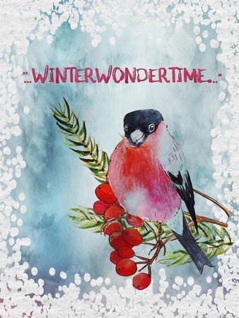 Bird Winter Snow Christmas Illustration 4