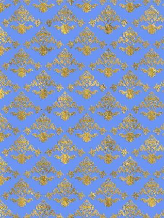 Blue Gold Glitter Pattern Damask2
