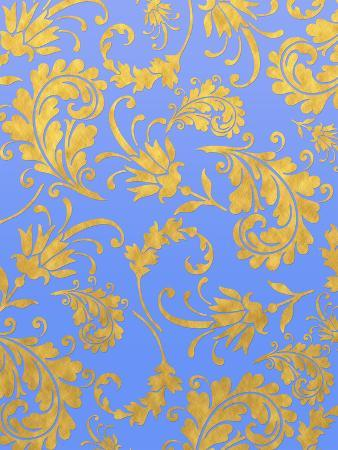 Blue Gold Glitter Pattern Floral 2