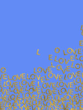 Blue Gold Glitter Pattern Love Letters