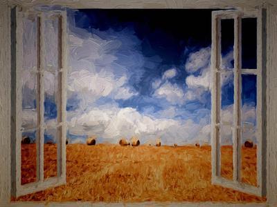 Window Field Summer Painting