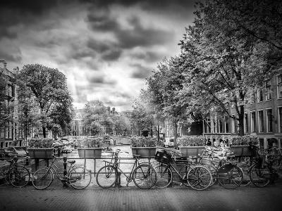 Amsterdam Gentlemens Canal Typical Cityscape In Monochrome