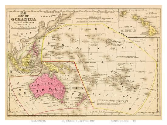 Map Of Young Australia.Map Of Oceanica Australia Hawaii Pacific Islands