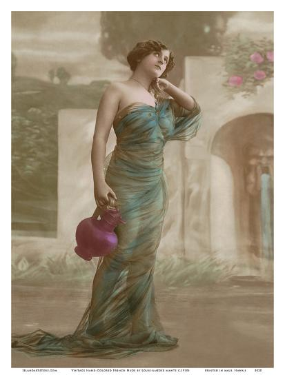Beautiful Long Haired Nude - Classic Vintage Hand-Colored