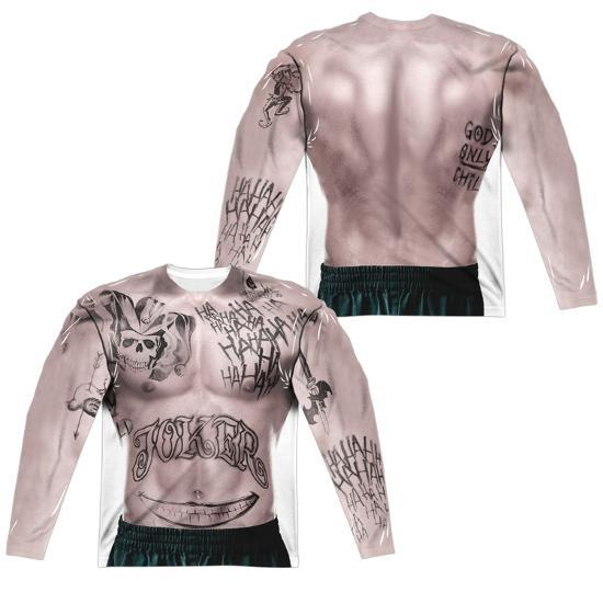 Long Sleeve Suicide Squad Joker Tattoo Costume Tee Front Back