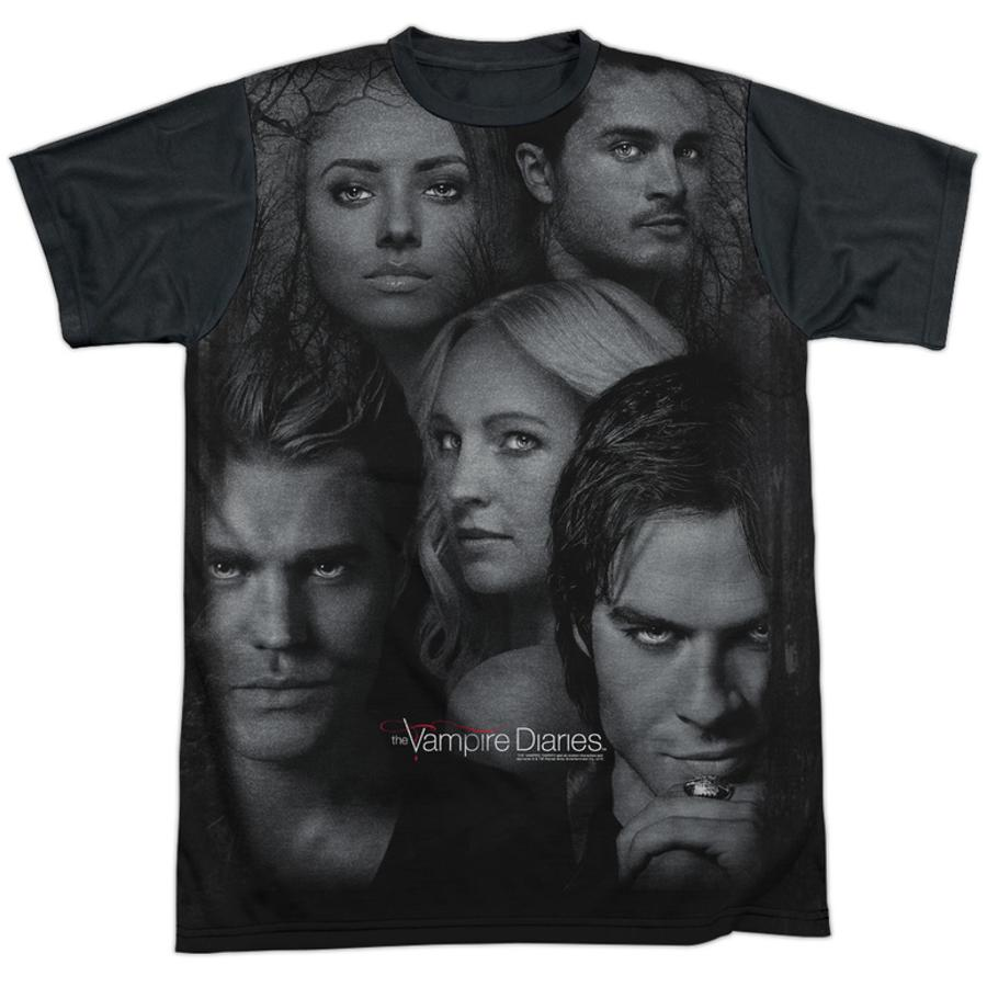 Vampire Diaries Character Collage Black Back T Shirt Allposters Com