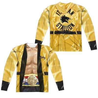 Long Sleeve: Rocky- Yellow Victory Robe Costume Tee (Front/Back)
