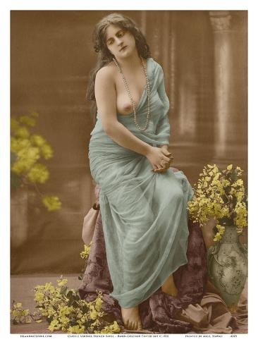 Classic Vintage French Nude Hand Colored Tinted Art