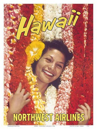 Hawaii - Northwest Airlines - Flower Leis