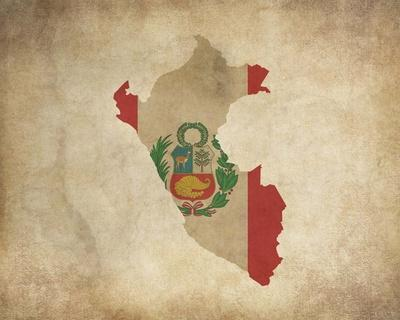 Map with Flag Overlay Peru