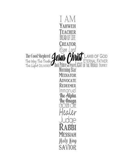 names of jesus cross silhouette white inspire me