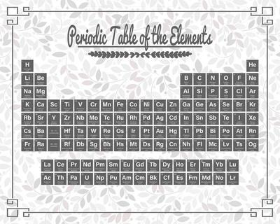 Periodic Table Gray and Red Leaf Pattern Light