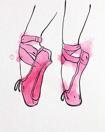 Ballet Shoes En Pointe Pink Watercolor Part I
