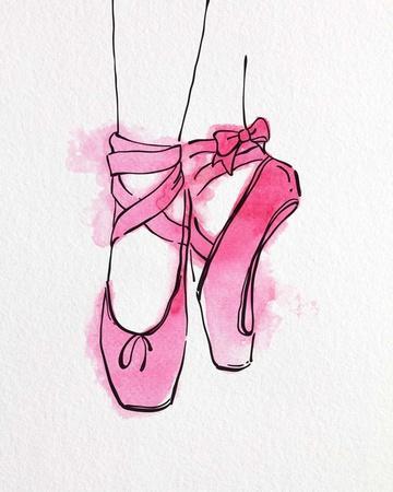 Ballet Shoes En Pointe Pink Watercolor Part III