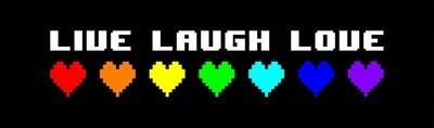 Live Laugh Love - Black Panoramic with Pixel Hearts