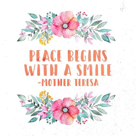 peace begins a smile floral poster by quote master at