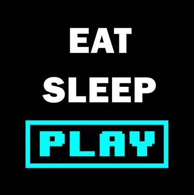 Eat Sleep Play - Black with Blue Text