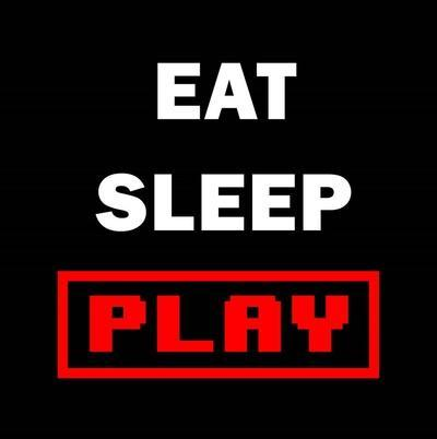 Eat Sleep Play - Black with Red Text