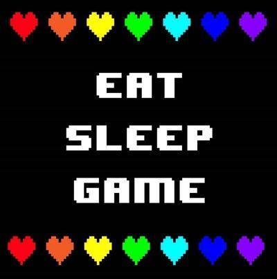 Eat Sleep Game - Black with Pixel Hearts