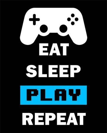 Eat Sleep Game Repeat - Black and Blue
