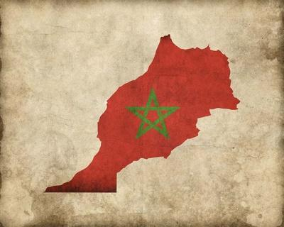 Map with Flag Overlay Morocco