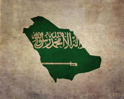 Map with Flag Overlay Saudi Arabia