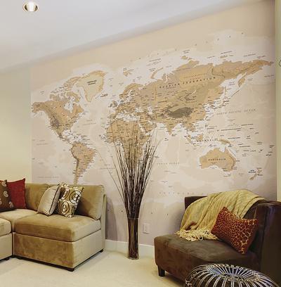 Sepia World Wall Mural