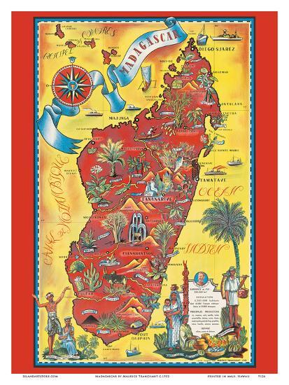 Map Of Africa Art.Madagascar Map Africa Island Art By Maurice Tranchant At