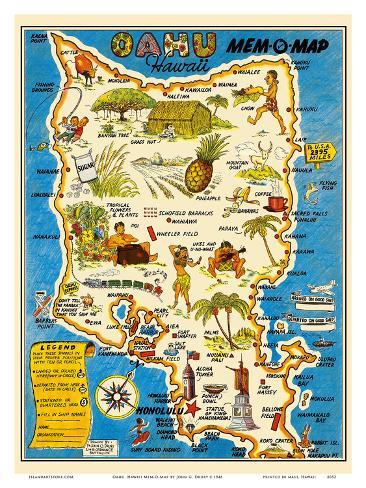 Oahu Hawaii Mem O Map World War Ii Military Souvenir Map Prints