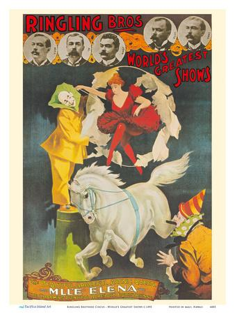 Ringling Brothers Circus - World's Greatest Shows - Bareback Horse Rider M'll'e Elena