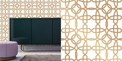 Cynthia Rowley's Chainlinx Gold Self-Adhesive Wallpaper