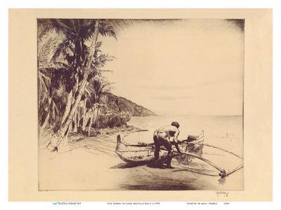 Old Hawaii - Hawaiian in Outrigger Canoe (Wa'a)