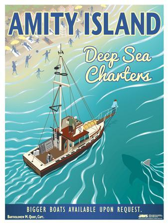 Jaws - Amity Island Deep Sea Charters Vintage Travel Lithograph